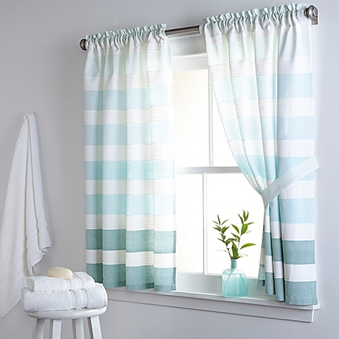 kitchen curtain image of dkny highline stripe 38-inch x 45-inch cotton bath window curtain CUORMLE