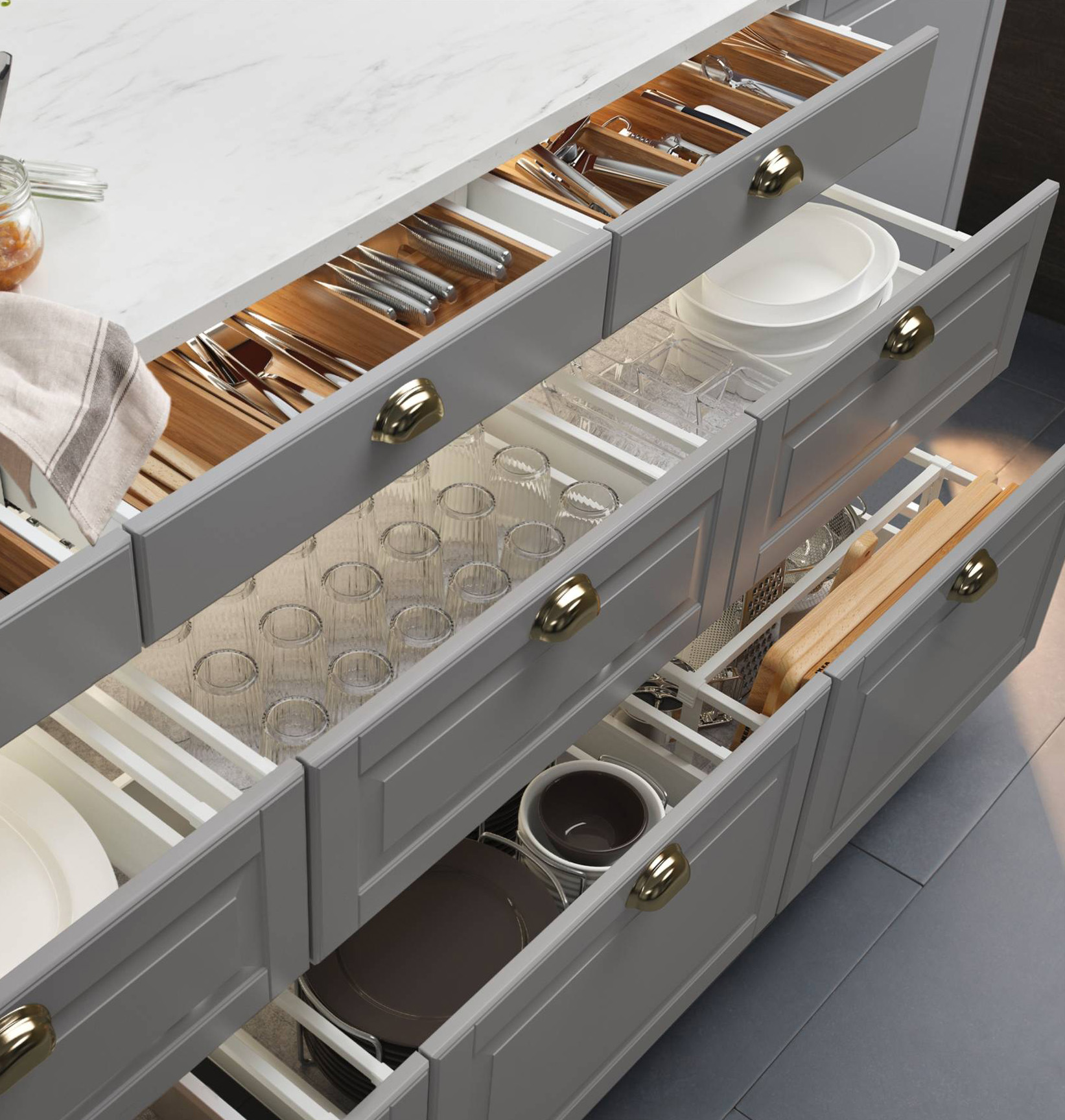 Modern Kitchen Drawers a Breeze for Work and Organization