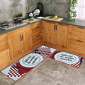 kitchen rug carvapet 2 piece kitchen mat no rubber backing doormat runner rug set, dish DITSFWG