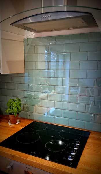 kitchen tile ideas kitchen splash back over duck egg blue tiles with cooker hood WZOUMLE