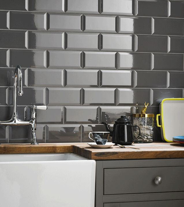 kitchen wall tiles grey brick effect kitchen wall tile more CYNXDQE