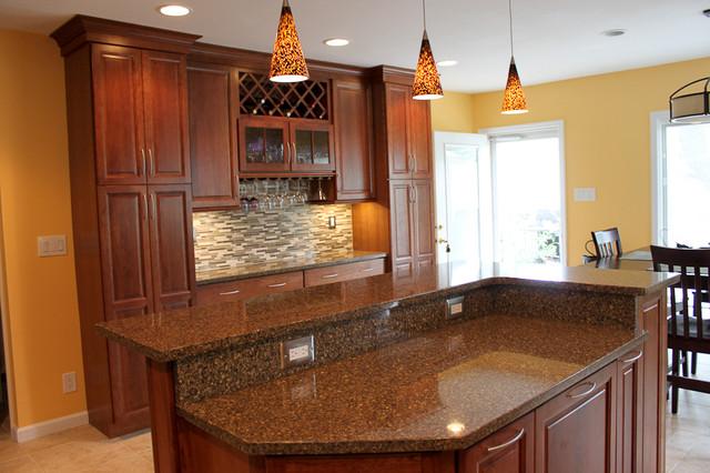 kraftmaid cabinets-northfield cherry-sunset eclectic-kitchen YDUJWPI