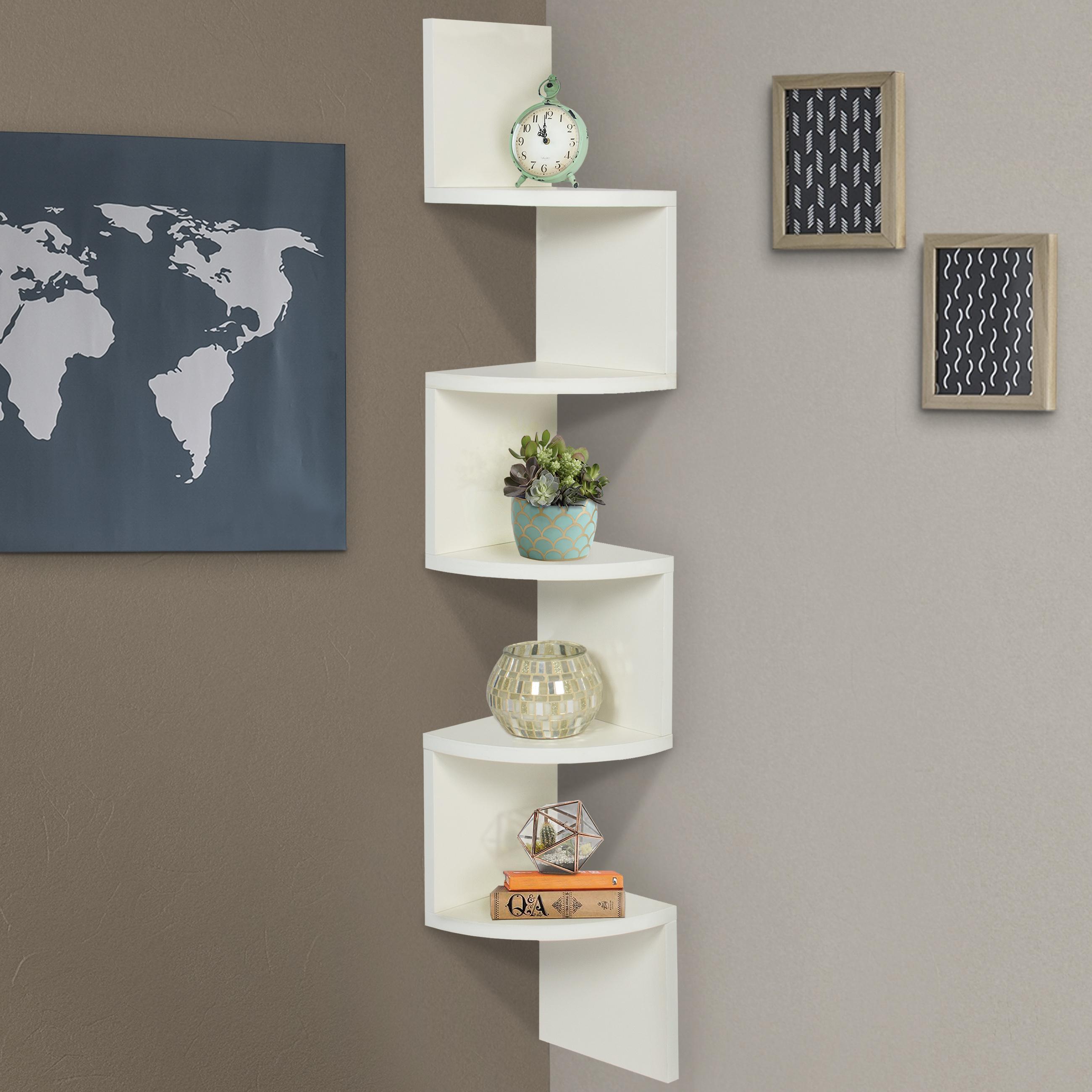 large corner wood zig zag wall shelf white finish home decor furniture EGZBLOF
