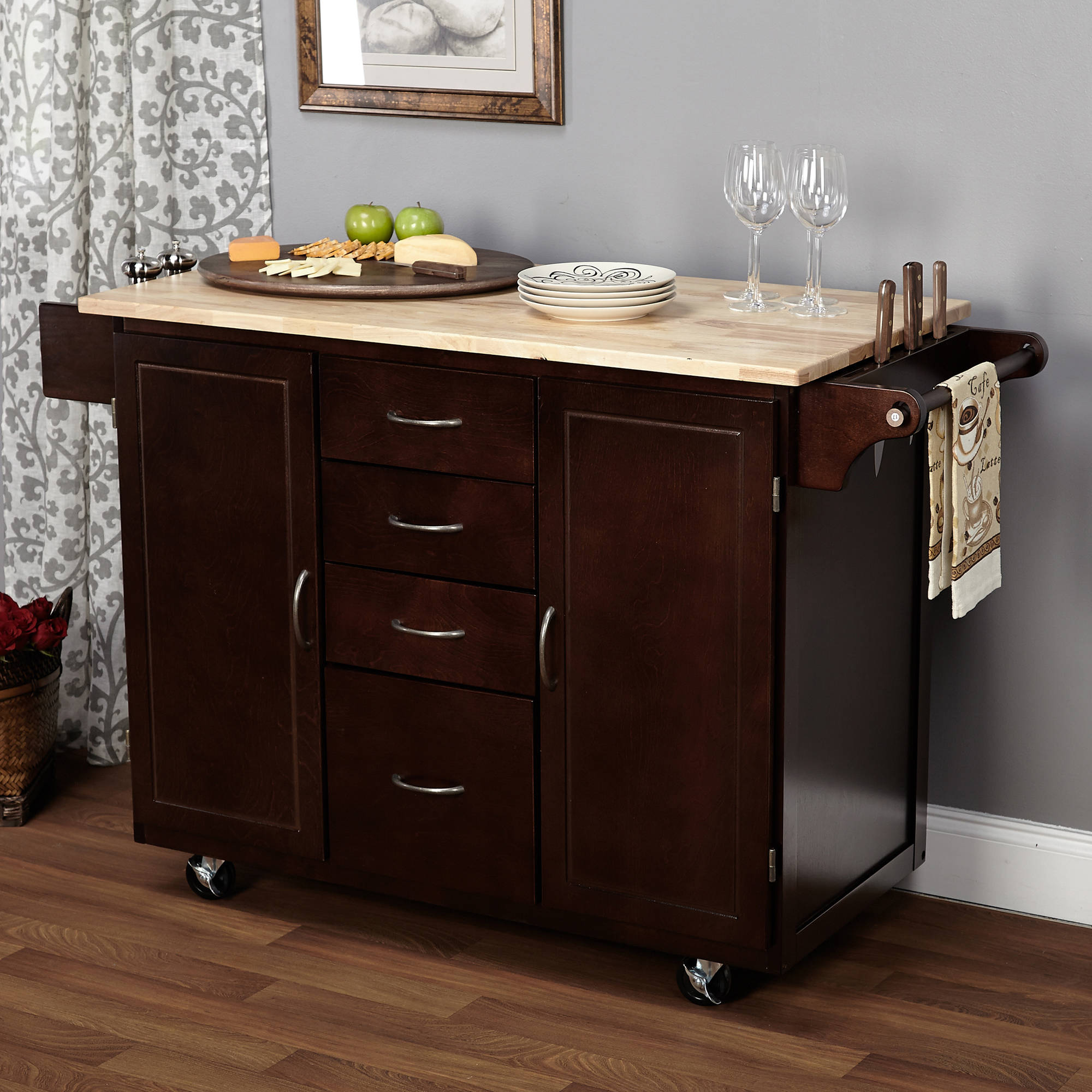 large kitchen cart with rubberwood top, multiple finishes - walmart.com CBEFOVV