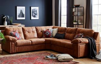 leather corner sofa romana 3 piece corner sofa saddle SPRWWQQ
