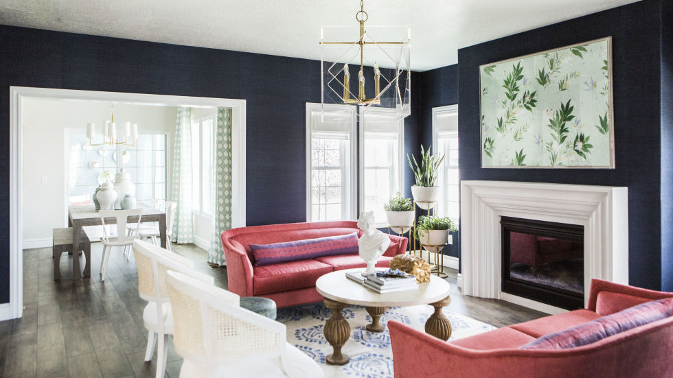 living room designs navy walls JQTCIPB