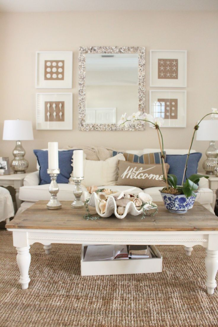 living room mirrors blue and white living room and dining room - starfish cottage KQVVAVC