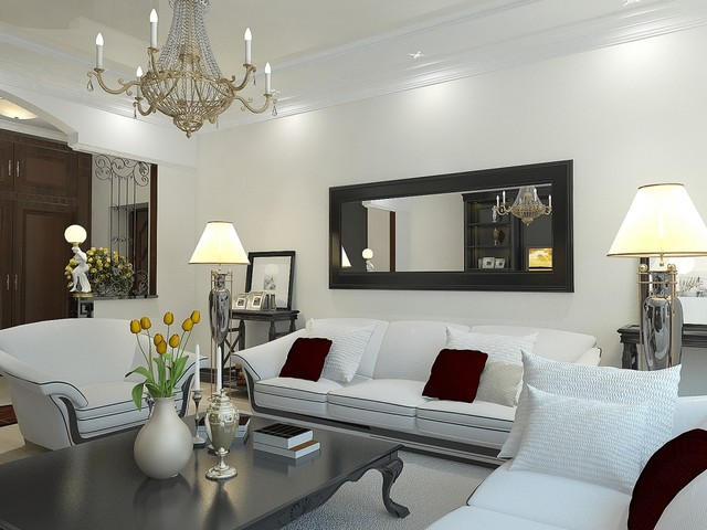 living room mirrors example of a trendy living room design in sacramento with white walls TLYSHQT