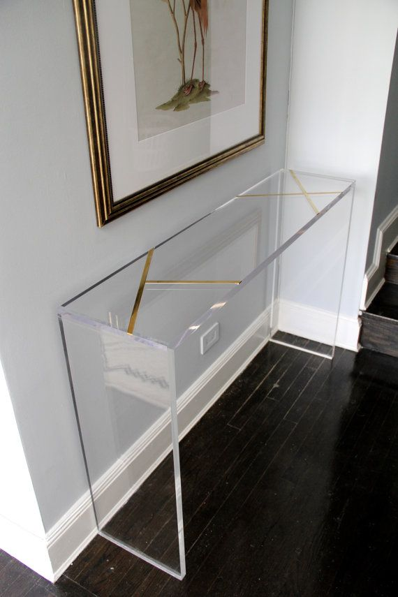 lucite furniture lucite 1.25 thick console table with solid brass inlay. measures: 52 l x CWDZMYQ