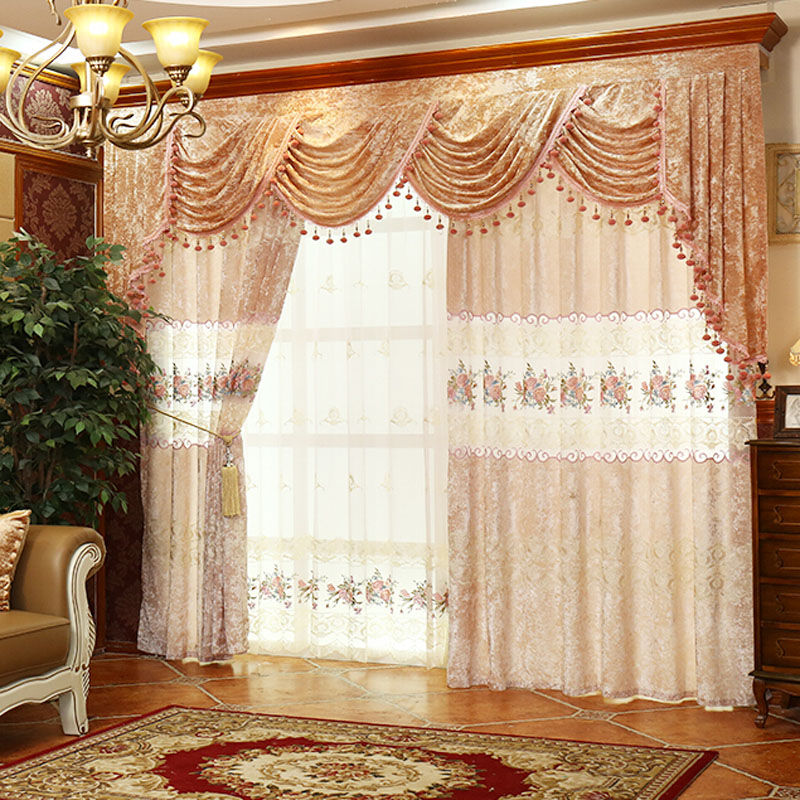 luxury floral/lace suede/polyester vintage curtains DBEJPGQ