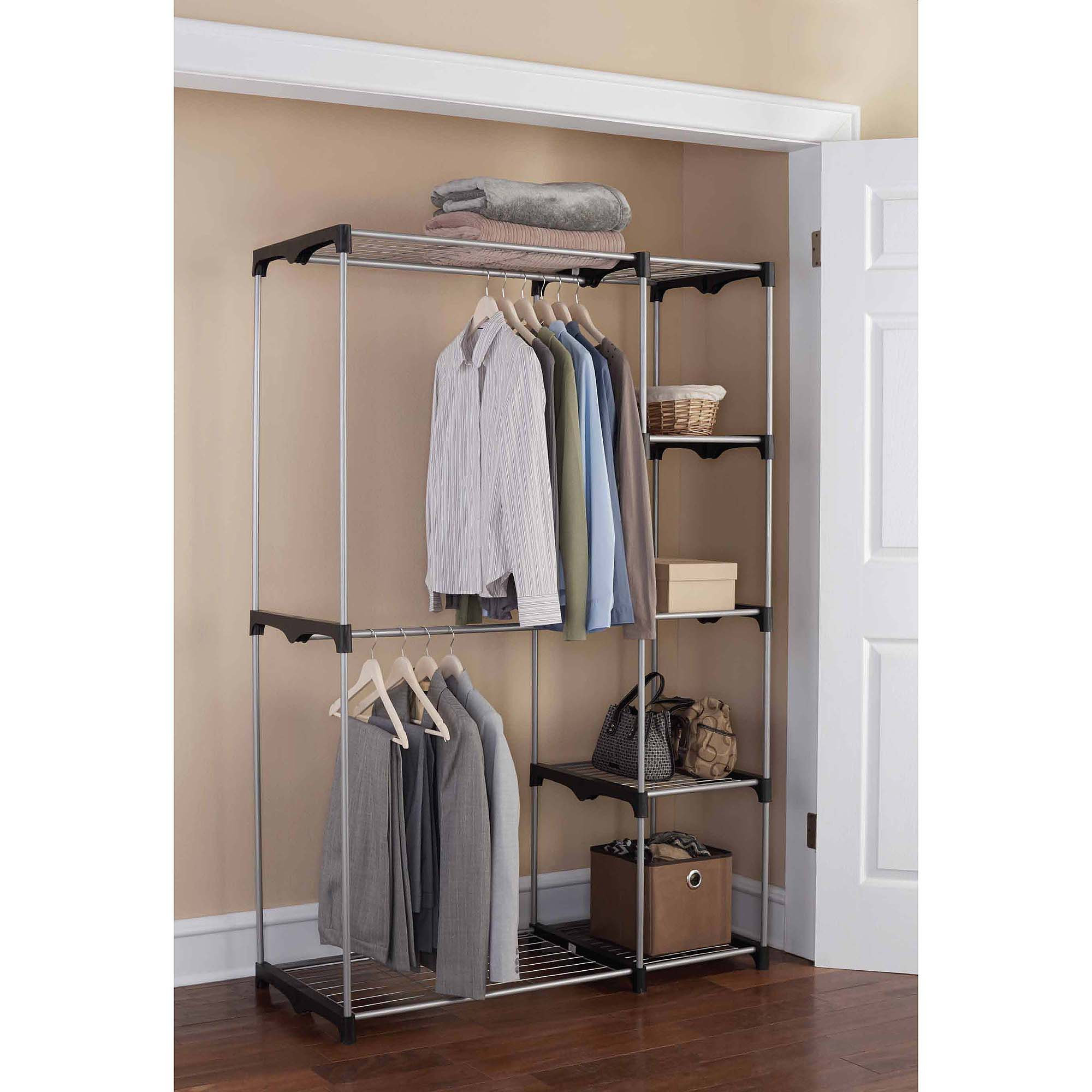 mainstays wire shelf closet organizer, black/silver JBDJZQA
