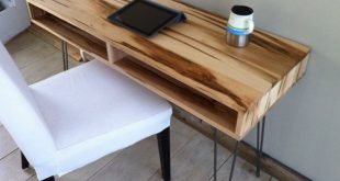 midcentury modern desk featuring wormy maple with hairpin legs. FDMNXZM