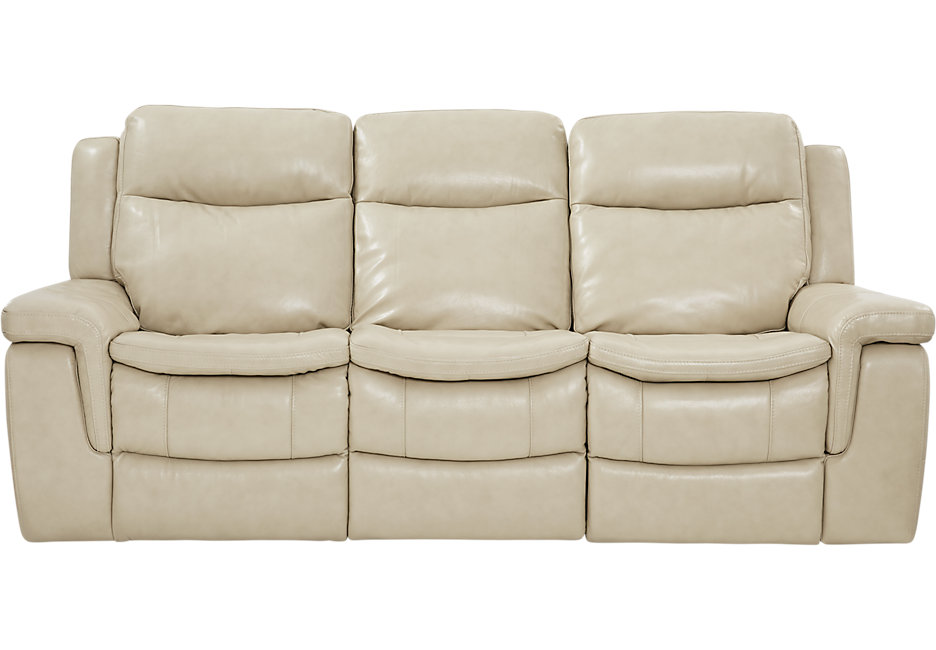 milano stone leather reclining sofa - reclining sofas (beige) QWBDNIA
