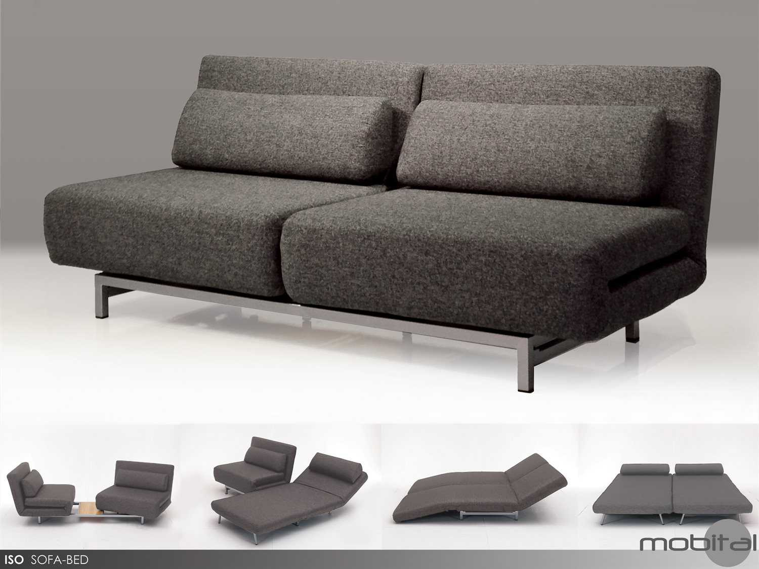mobital iso charcoal tweed double sofa bed with 2 single swivel chairs HOJASRX