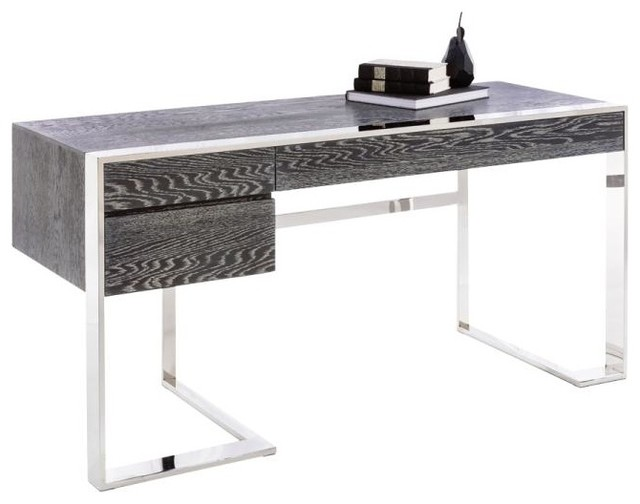 modern desk, german oak veneer and polished stainless steel base modern- desks-and KRZSMDV