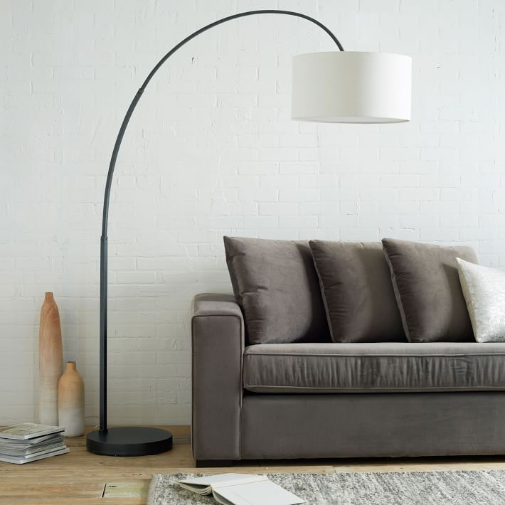 modern floor lamps overarching linen shade floor lamp - antique bronze | west elm OXVGXCD