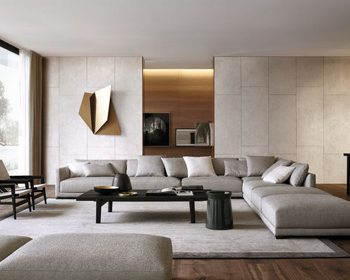 modern living rooms large modern dark wood floor living room idea in new york with no FCUEQXX