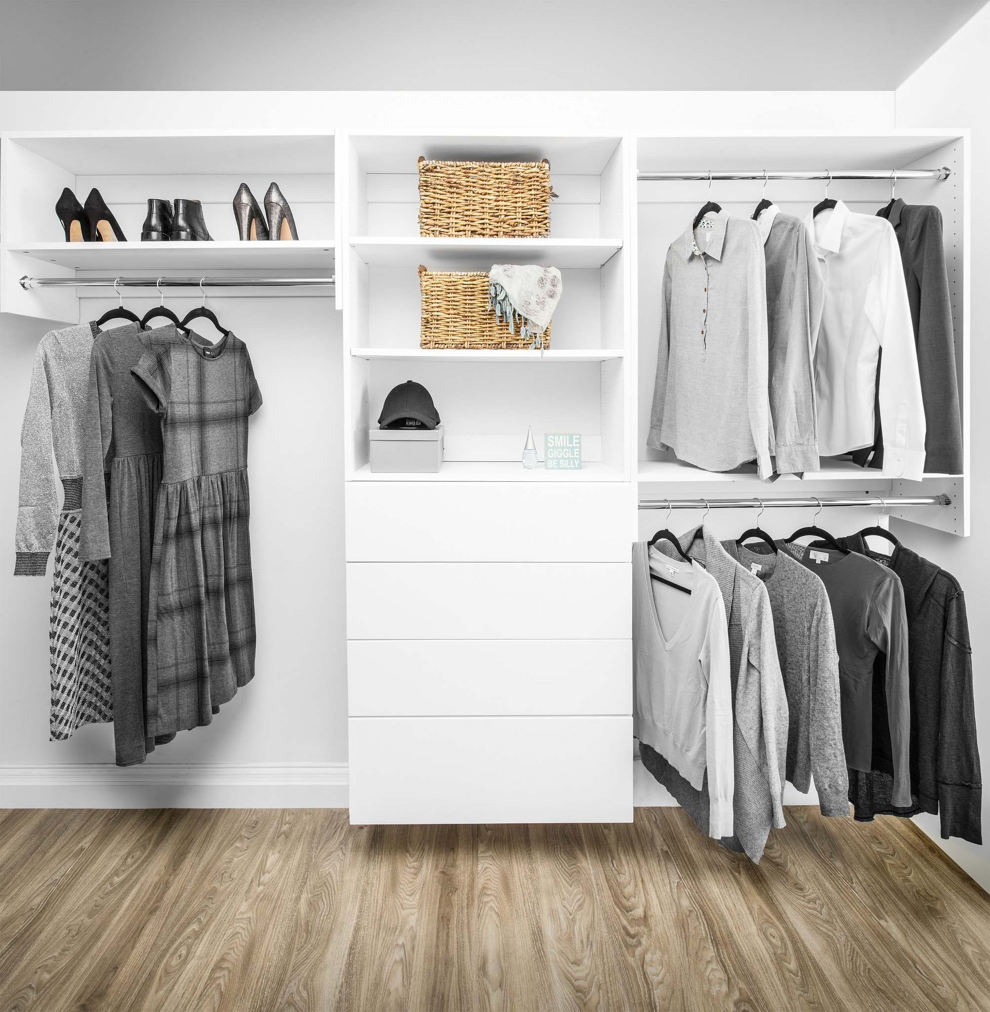modular closets wood tall hanging closet organizer section EYLWGGK