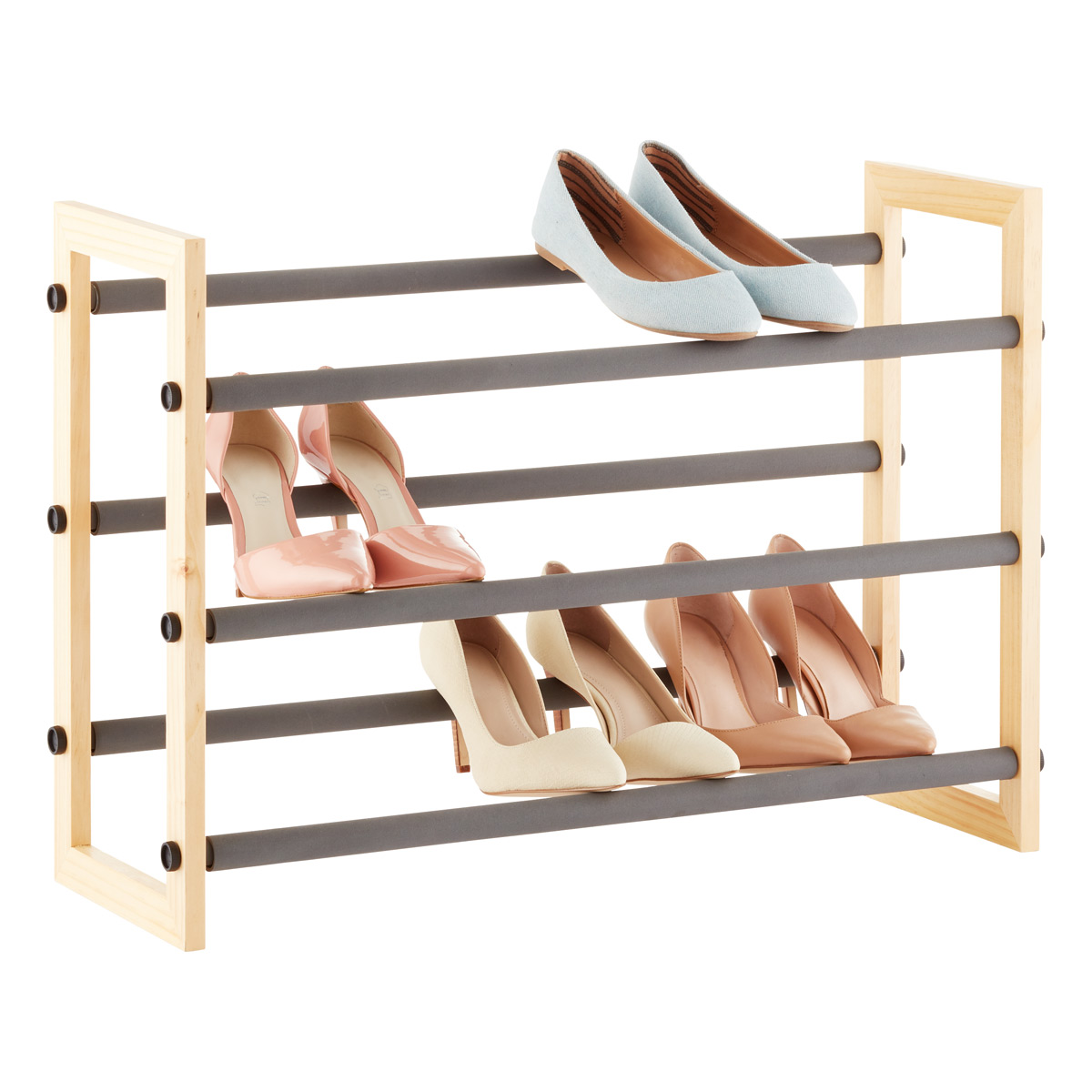 natural 3-tier grippy shoe rack ... GYKIDCP