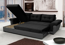 new corner sofa bed with storage, black fabric + grey leather. very GJZSEOL