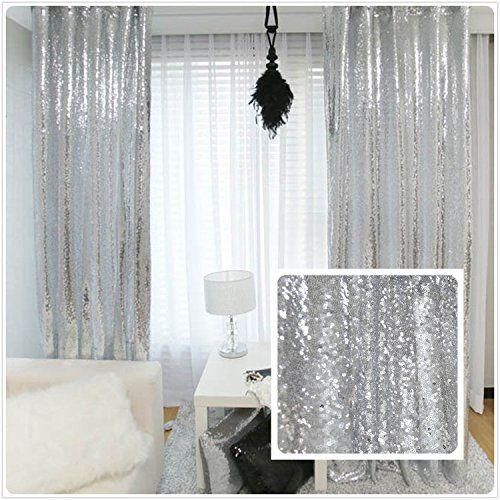 new year 80% off sequin silver curtains, select you size, 23ft10ft sparkly OUWJDJR