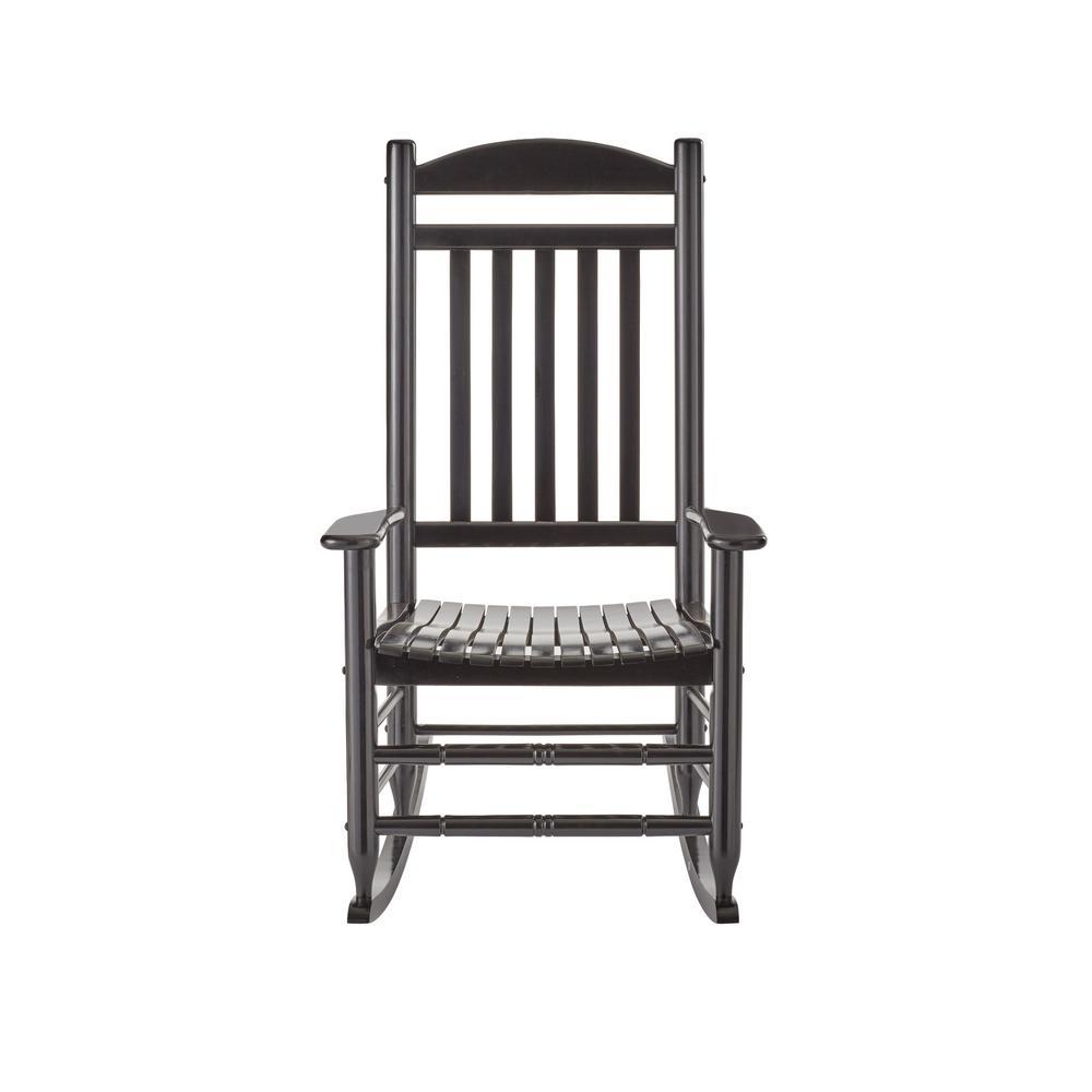 null black wood outdoor rocking chair THFNARM