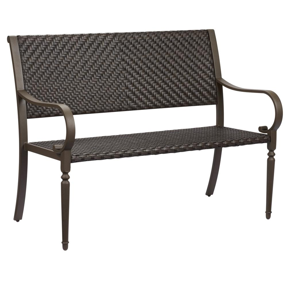outdoor benches commack brown wicker outdoor bench QDXXEKR