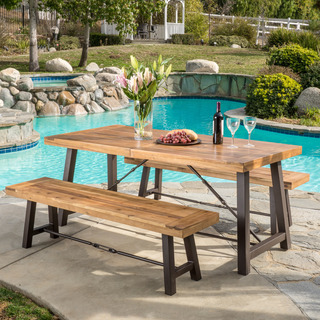 outdoor dining set outdoor puerto acacia wood 3-piece picnic dining set by christopher knight  home CANLKQZ