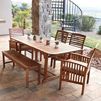 outdoor dining set we furniture solid acacia wood 6-piece patio dining set OWSAHOJ