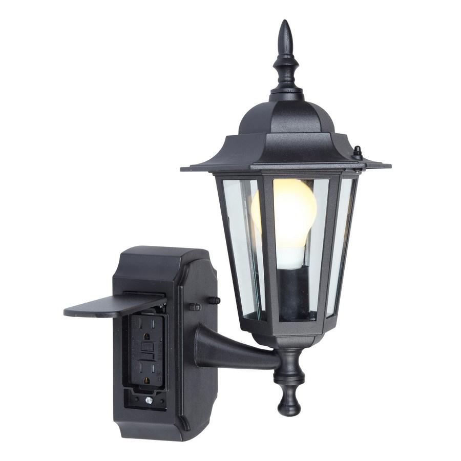 outdoor light portfolio gfci 15.75-in h black outdoor wall light GCEFBUB