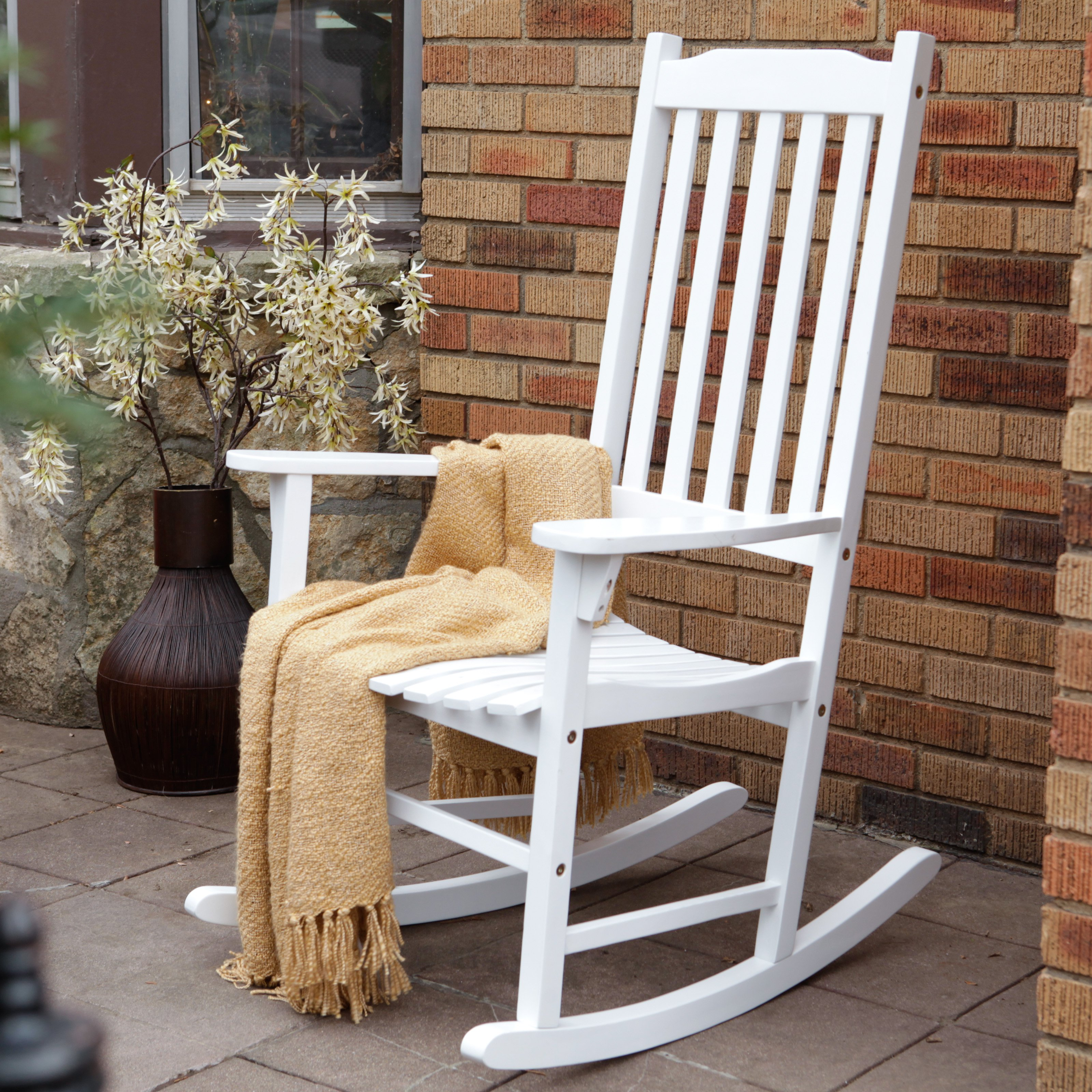 outdoor rocking chair coral coast indoor/outdoor mission slat rocking chair - white | hayneedle RPAFLFI