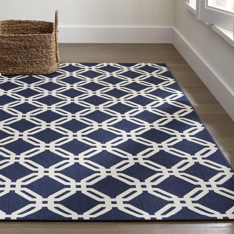 outdoor rugs arlo blue outdoor rug | crate and barrel IAYEAJZ