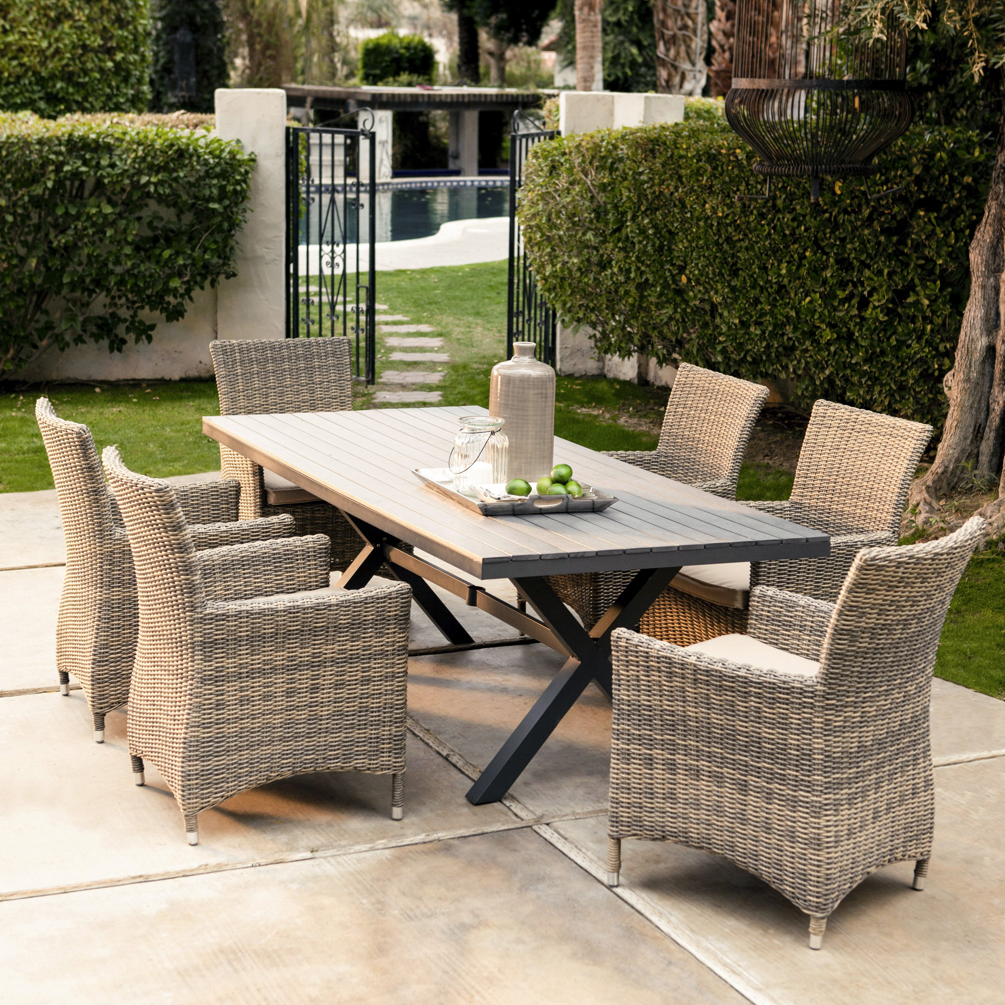 outdoor wicker chairs belham living bella all weather wicker 7 piece patio dining set - seats IEIRMYR