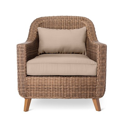 outdoor wicker chairs mayhew all weather wicker patio club chair tan - threshold™ WGPPKEN