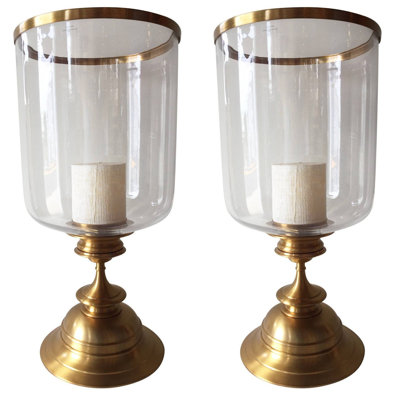 pair of brass satin finish extra large hurricane lamps 1 HPNQXTL