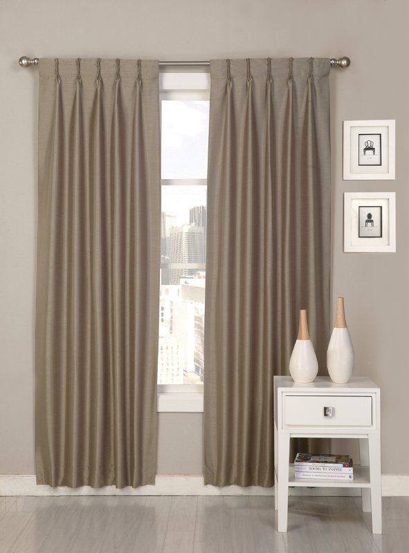 palace solid semi-sheer pinch pleat curtain panels TNUSJZE