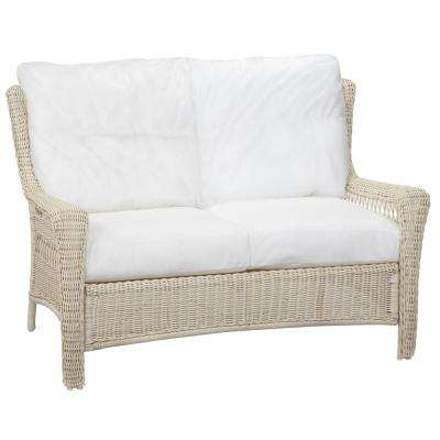 park meadows white custom wicker outdoor loveseat WPZNKVQ