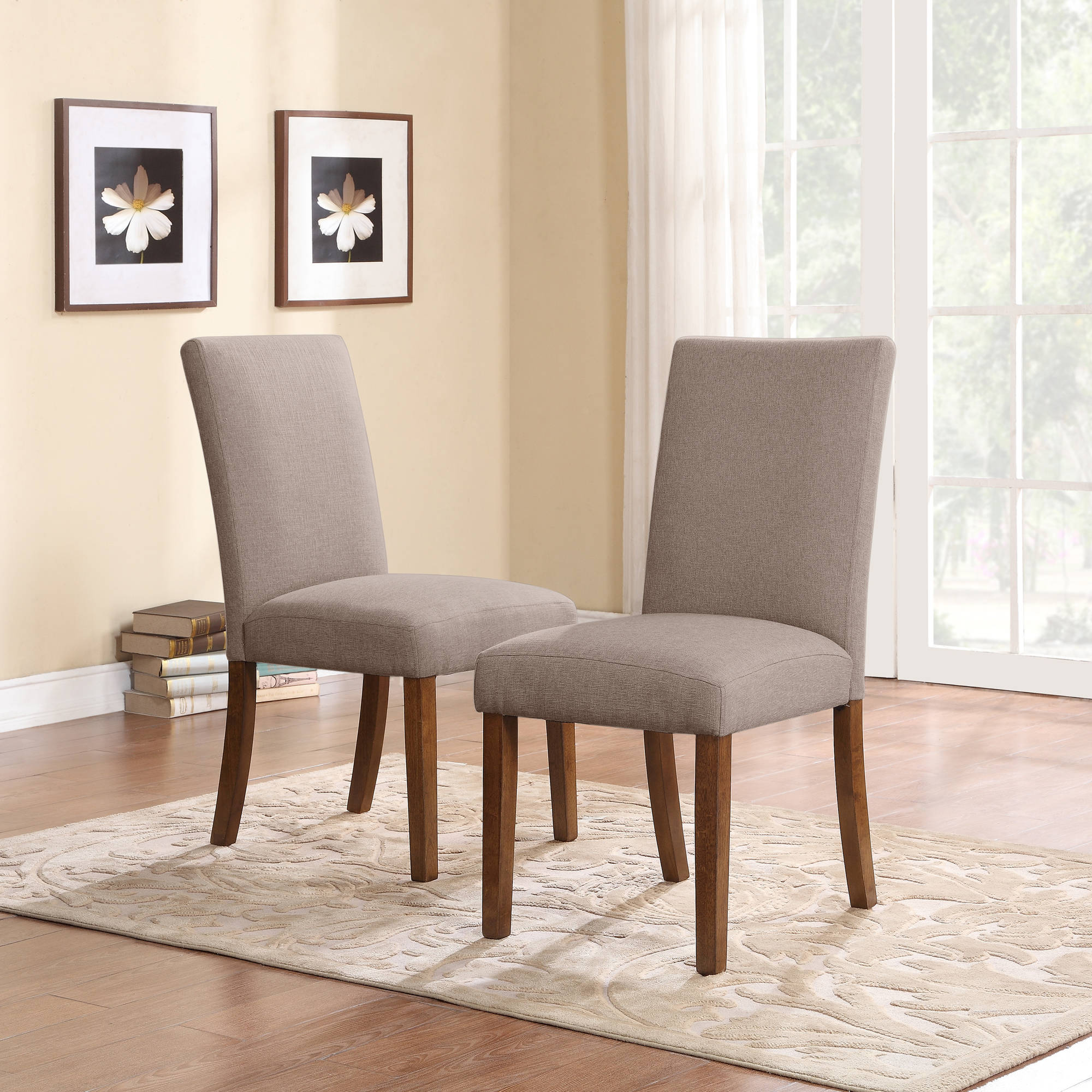 parsons chairs dorel living linen parsons chair, set of 2, dark pine with gray seats JLKEODN