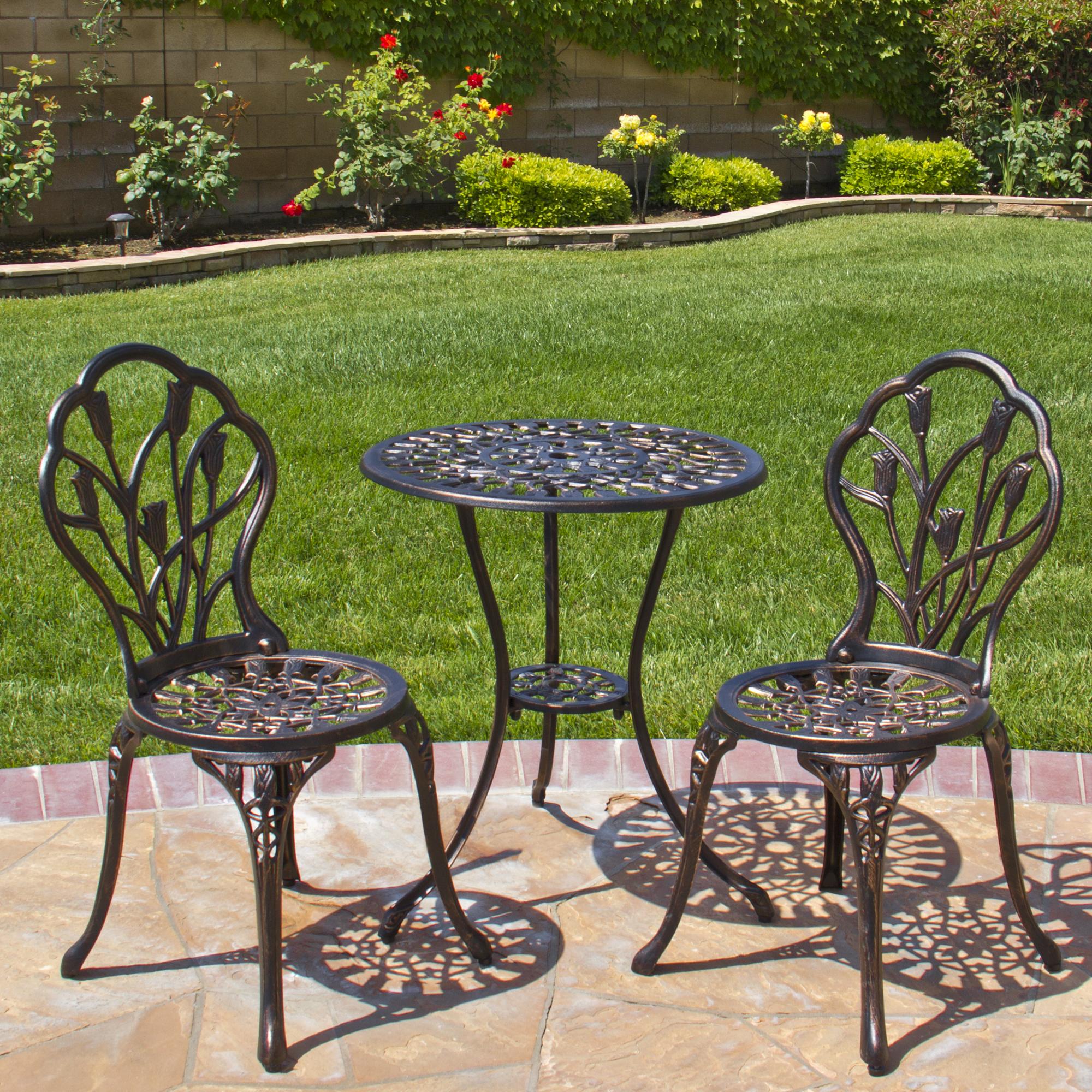 patio bistro set best choice products cast aluminum patio bistro furniture set in antique  copper CHNMDUV