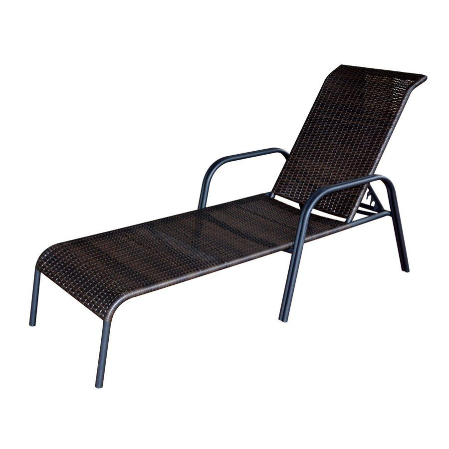 patio chaise lounge garden treasures pelham bay 1-count brown steel stackable patio chaise  lounge chair TBTYSMC