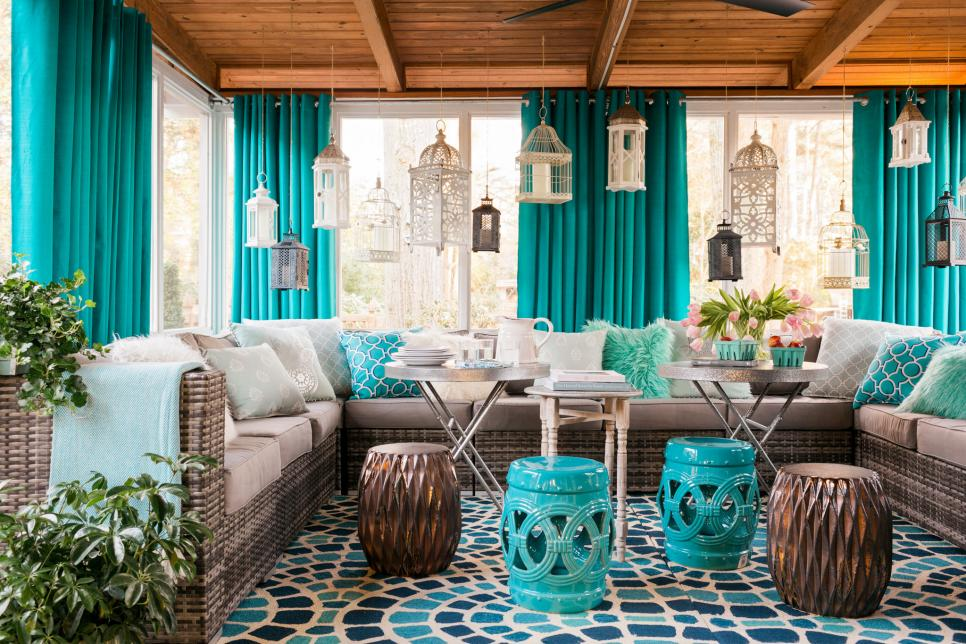 patio decorating ideas small screened-in porch decorating ideas | hgtv TJHWTQY