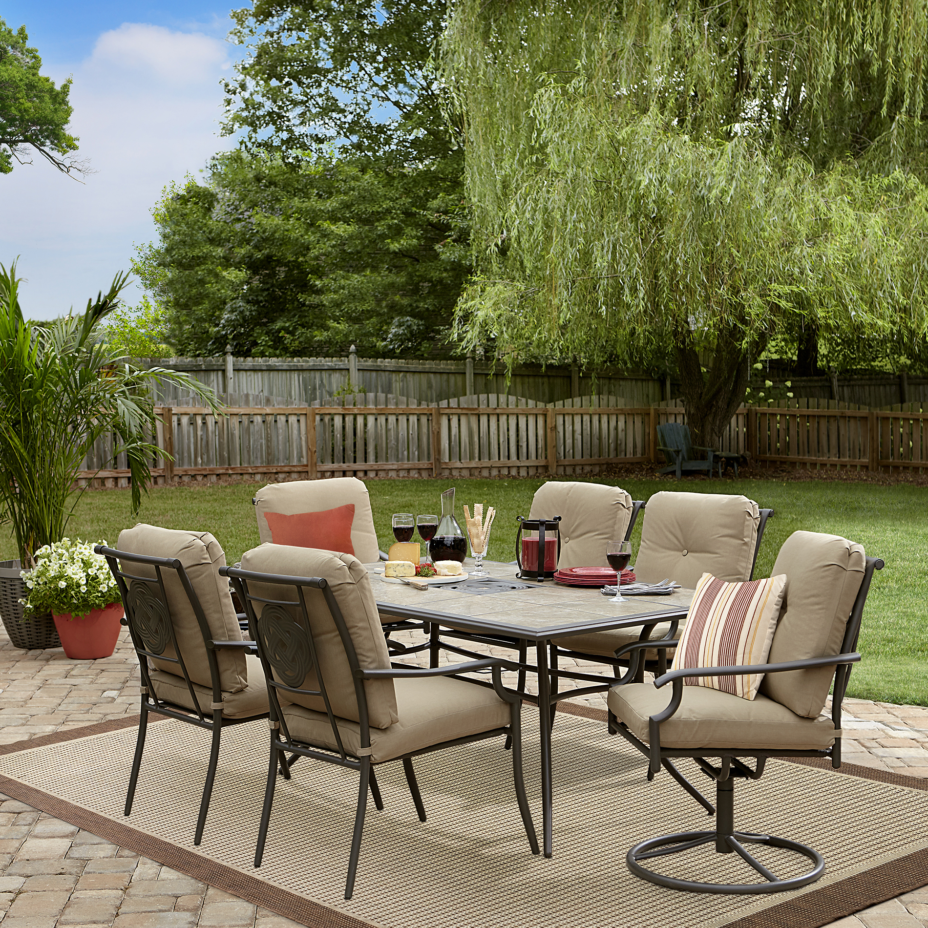 patio dining set garden oasis brookston 7-piece dining set - stone DSRLTYK