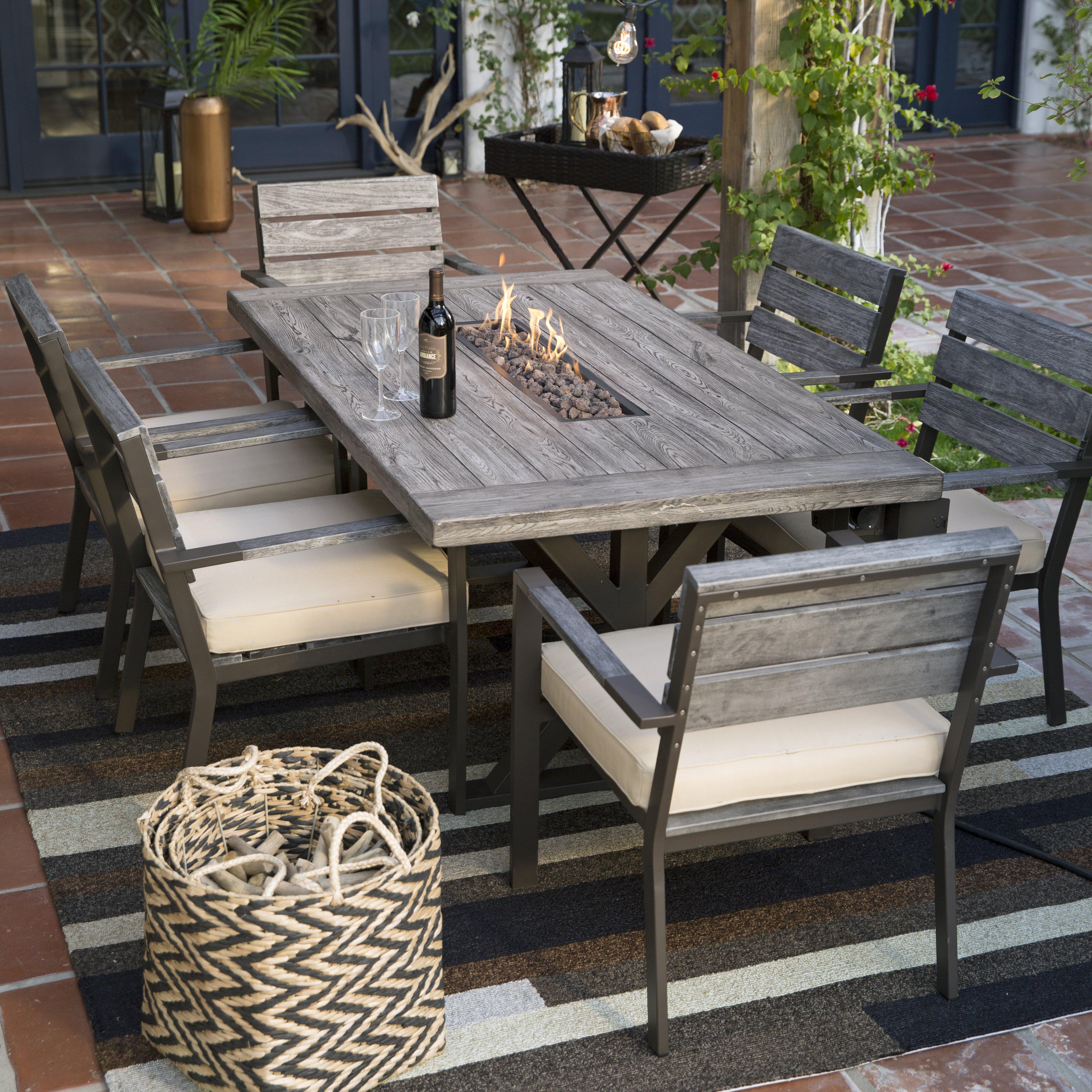 patio dining sets fire table patio set new belham living silba 7 piece envirostone fire pit BSAPZDX