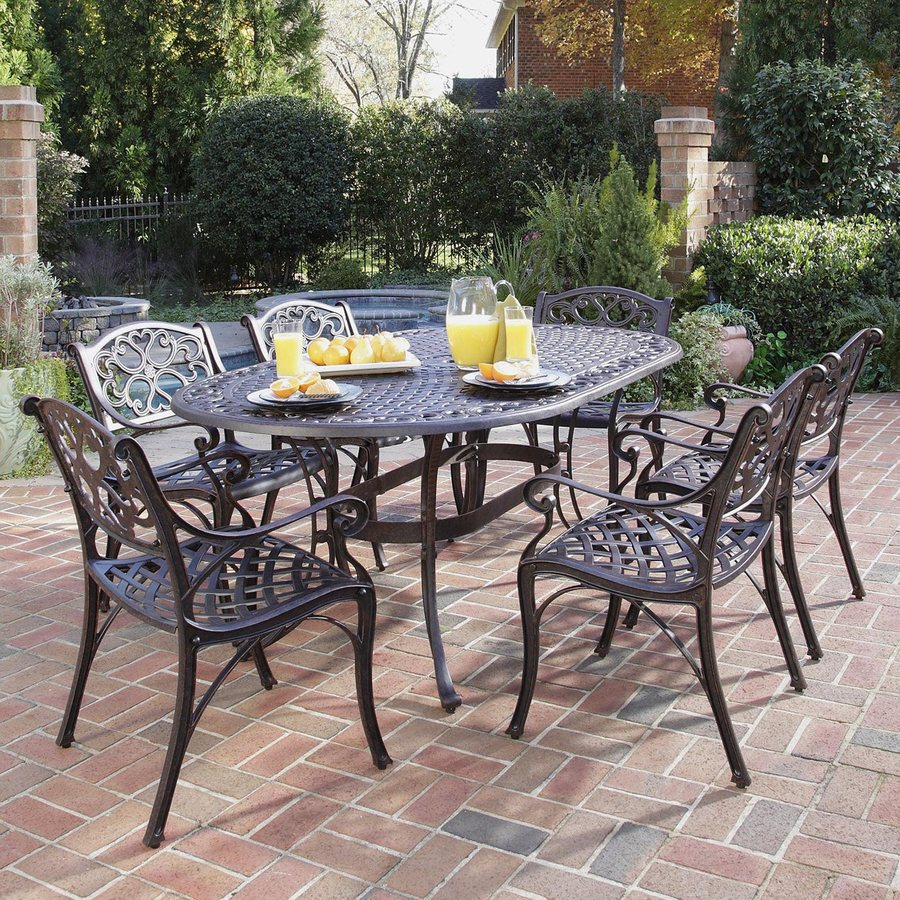 patio dining sets home styles biscayne 7-piece aluminum patio dining set VIABYDG