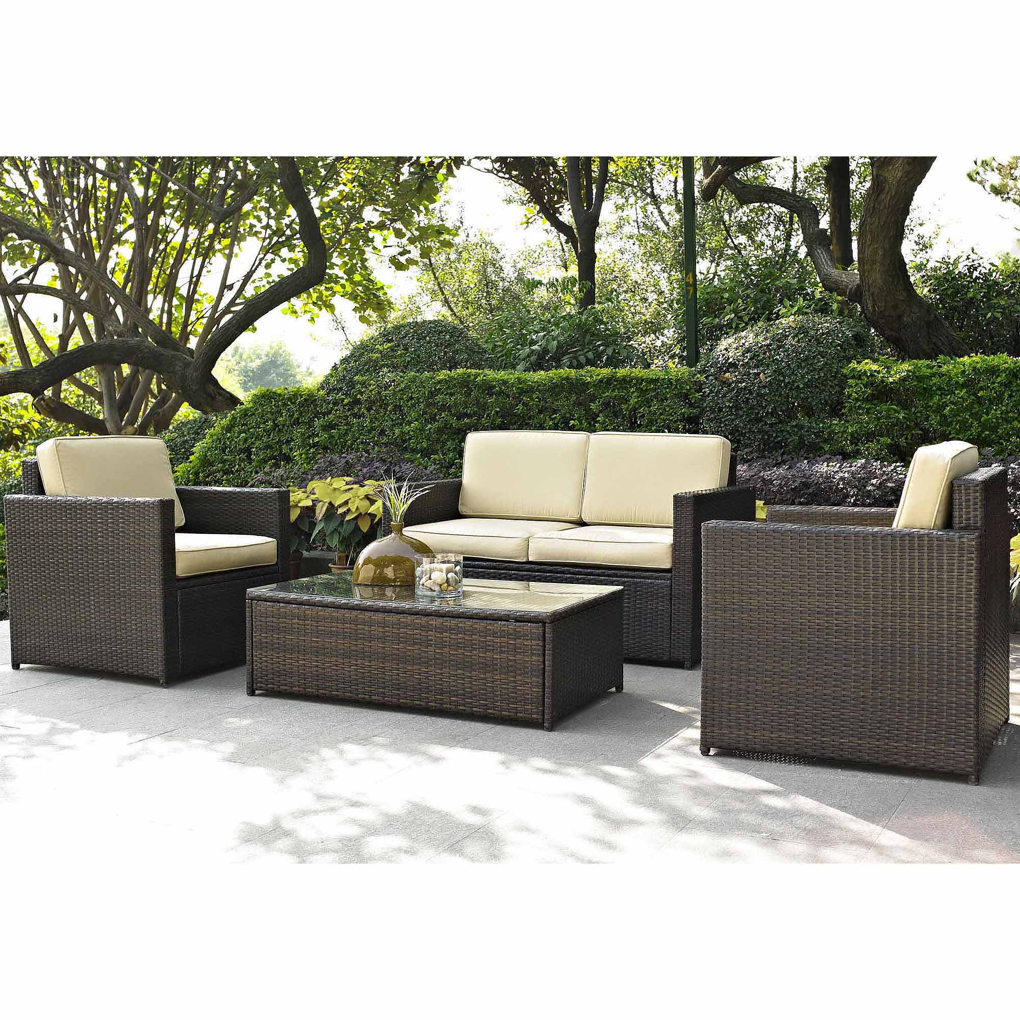 patio furniture costway 4 pcs cushioned wicker patio sofa furniture set garden lawn seat DUPNGDX