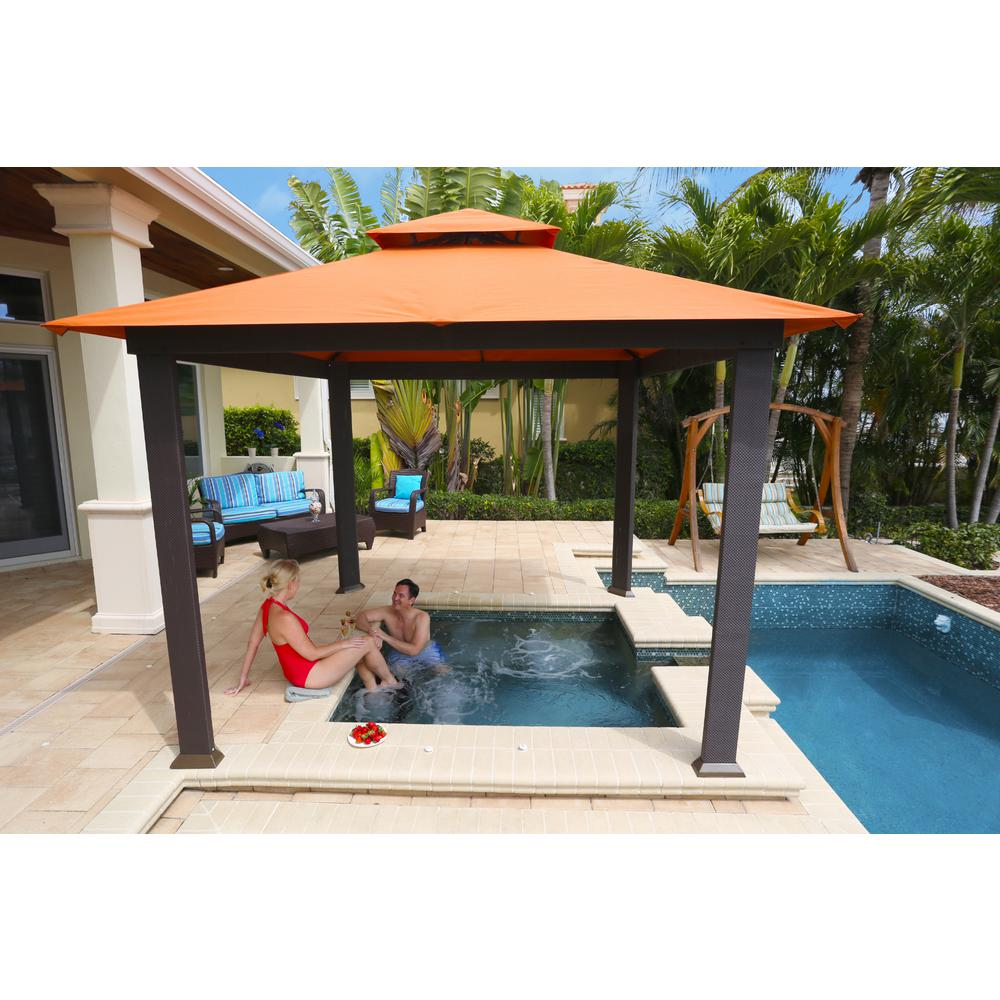 patio gazebo gazebo with rust sunbrella canopy CUJESWP