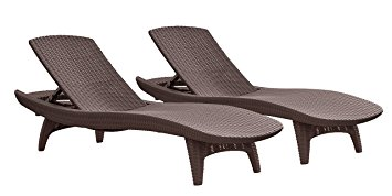 patio lounge chairs cozy keter pacific 2-pack all-weather adjustable outdoor patio chaise lounge  furniture, BALUYWP