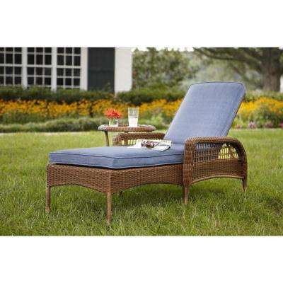patio lounge chairs spring haven brown all-weather wicker outdoor patio chaise lounge with sky  blue PSBQOZR