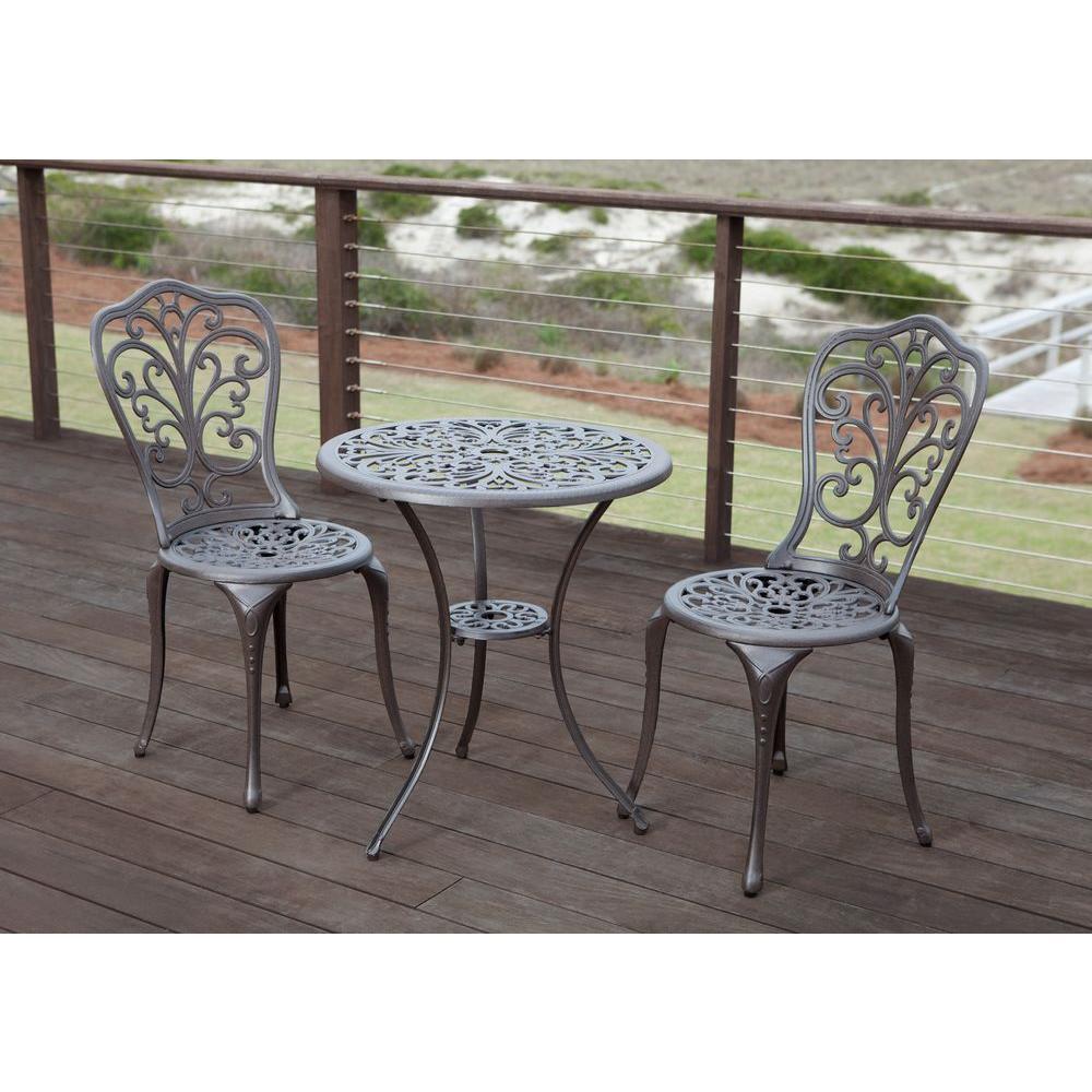 patio sense faustina bronze 3-piece cast aluminum patio bistro set CIWHWDN