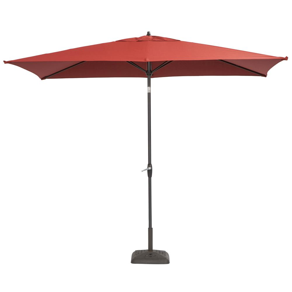 patio umbrellas aluminum patio umbrella in chili with push-button tilt-9106-01004011 - the  home depot PJJHQFL